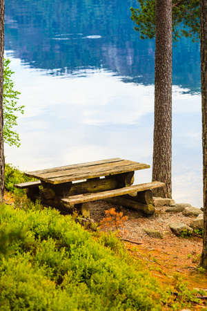 Picnic site wooden table and benches in norwegian forest park, Europe.