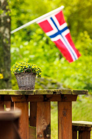 Norwegian flag and picnic site wooden table and benches outdoor in green forest park, Europe.