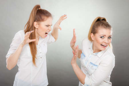Conflict, bad relationships, friendship difficulties. Two young women having argument. Angry fury girl screaming at her friend or younger sister Foto de archivo