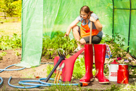 Gardening tools outdoor in garden, red rubber boots water can hose. Woman farmer working in greenhouse in the background
