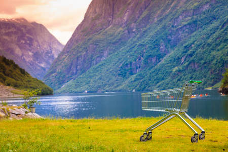 Random shopping cart trolley in nature. Norwegian green background landscape. Tourism, buying concept.