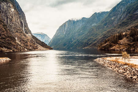 Tourism vacation and travel. Mountains and fjord Sognefjord in Norway, Scandinavia.