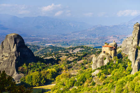 Monasteries on cliff in Meteora, Monastery of St. Nicholas Anapausas, Thessaly Greece. Greek destinations