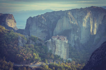 The Rousanou monastery on cliff in Meteora, Thessaly Greece. Greek destinations