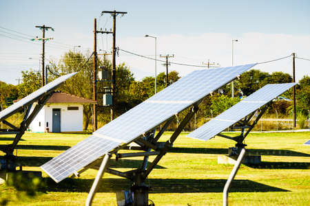 Solar panels outdoor during sunny summer weather. Modern technology of ecologic energy generator