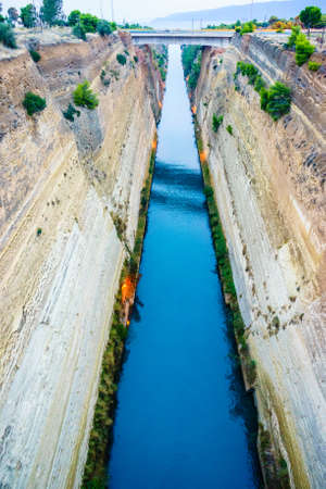 View of Corinth Canal with bridge, Greece Aegean Sea Reklamní fotografie