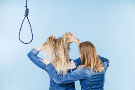 Woman trying to help her best friend with suicidal thoughts. Friendship and depression concept.
