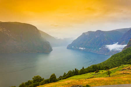 Aurlandsfjord fjord landscape, Norway Scandinavia. National tourist route Aurlandsfjellet. Stock Photo