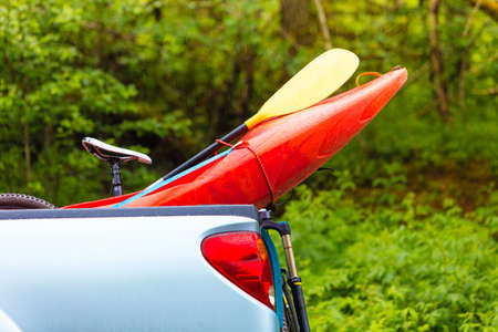 Water sport objects and accessories concept. Detailed closeup of kayak prow object. Stock Photo
