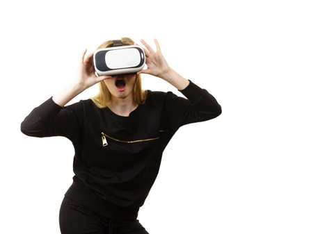 Woman wearing virtual reality goggles headset, vr box. Connection, technology, new generation and progress concept.