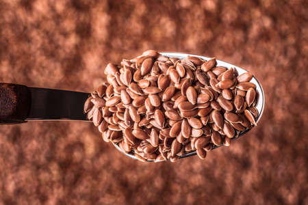 Healthy food diet. Closeup brown flax seeds linseed on kitchen spoon Banco de Imagens
