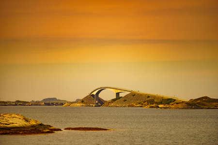 World famous Atlantic road bridge Atlanterhavsvegen in Norway Europe. View from distance. Norwegian national scenic route. Tourist attraction.