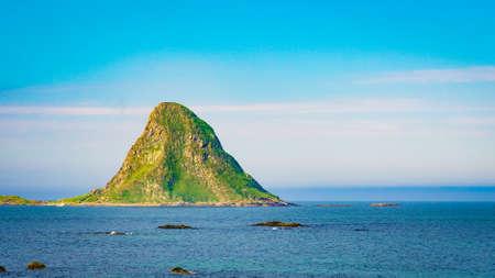 Seascape, sea coast and island Bleiksoya in the distance, resort Bleik Andoya Norway. Vesteralen archipelago.