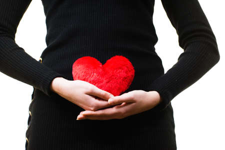 Young woman expecting baby. Pregnant female holding small heart shaped pillow on her stomach. Stok Fotoğraf - 124842518