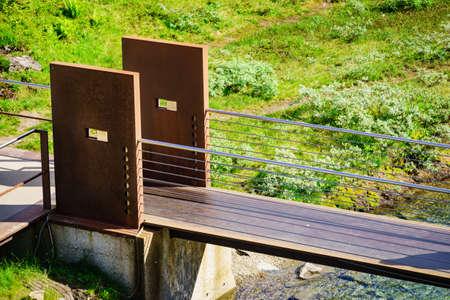 Little bridge over stream river in Norway, Trollstigen area