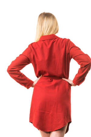 Fashionable pretty woman wearing elegant casual red short dress presenting stylish outfit. Stock Photo