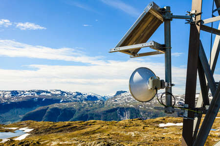 Telecommunications tower mast wireless technology in mountains