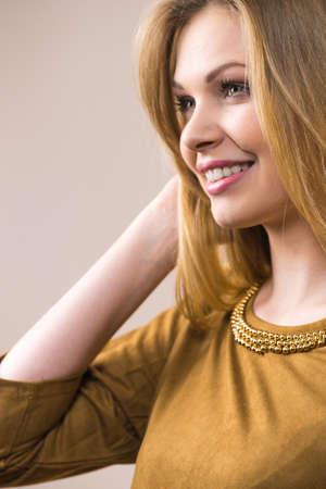 Happy cheerful beautiful young teenage natural beauty woman. Portrait of feminine teenager girl