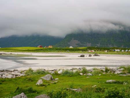 Sea coastline and Skagsanden Beach on Flakstadoy. Nordland county, Lofoten Norway.