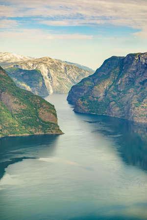 Aurlandsfjord fjord landscape, Norway Scandinavia. National tourist route Aurlandsfjellet. Zdjęcie Seryjne