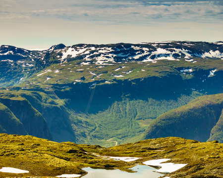 Mountain region between Aurland and Laerdal in Norway. Summer landscape. National tourist scenic route Aurlandsfjellet. Zdjęcie Seryjne