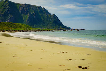Seascape, sea coast with sandy beach in resort Bleik. Andoya Norway. Vesteralen archipelago.
