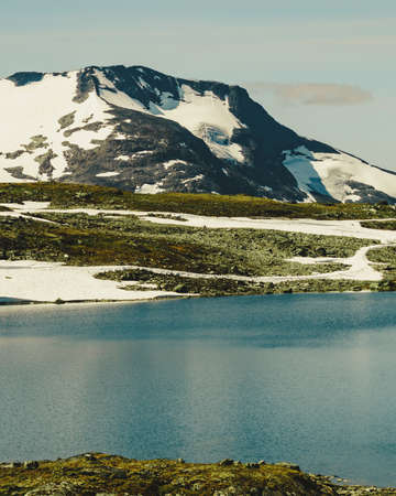 Summer mountains landscape in Norway. National tourist scenic route 55 Sognefjellet from Lom to Gaupne.