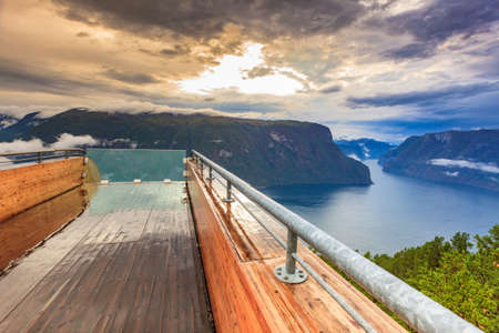 Aurlandsfjord landscape from Stegastein viewing point. Norway Scandinavia. National tourist route Aurlandsfjellet.