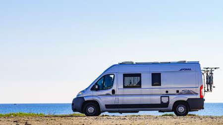 Mojacar Spain - January 5, 2020: Camper van Possl brand on mediterranean coast of seaside spanish Mojacar town in Andalusia.