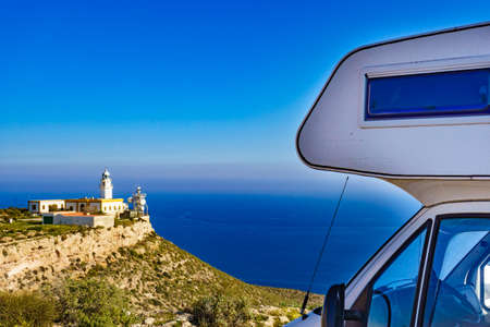 Caravan rv at Mesa Roldan lighthouse, Cabo de Gata Nijar Natural Park in Almeria province, Andalusia Spain. Interesting place to visit.