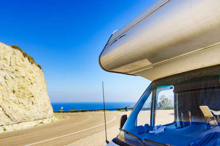 Camper rv on viewpoint Mirador De La Granatilla Carboneras in Cabo de Gata Natural Park, provincia Almeria, Spain. 版權商用圖片
