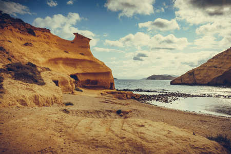 Cocedores Beach with yellow sand formations at Mediterranean sea, Murcia region Spain. 版權商用圖片
