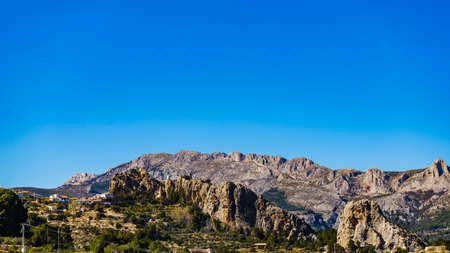 Spanish mountains rocky landscape, Alicante province, Costa Blanca holiday 版權商用圖片