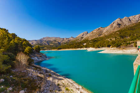 View on Guadalest water reservoir with turquoise water in Alicante province Spain 版權商用圖片