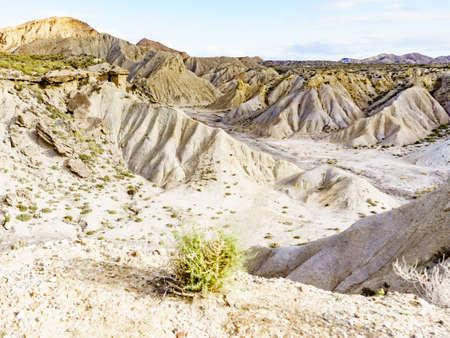 Tabernas desert wild and barren landscape in Almeria, Spain. Movie location set for spaghetti western. Stock Photo