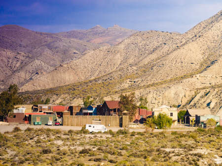 Tabernas Desert, Almeria, Spain - January 9, 2020: Western Leone village, movie location set for spaghetti western in desert. View from distance. Editorial