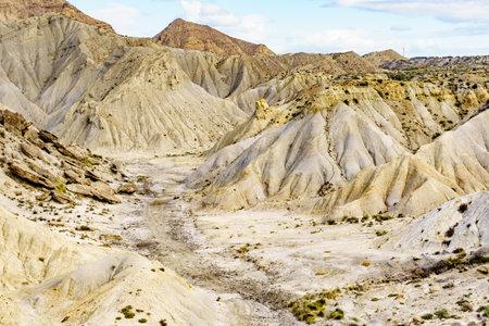 Tabernas desert wild and barren landscape in Almeria, Spain. Movie location set for spaghetti western.