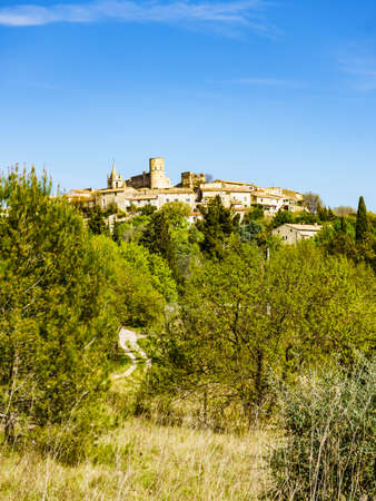 Old town on hill in France. Traveling. 写真素材