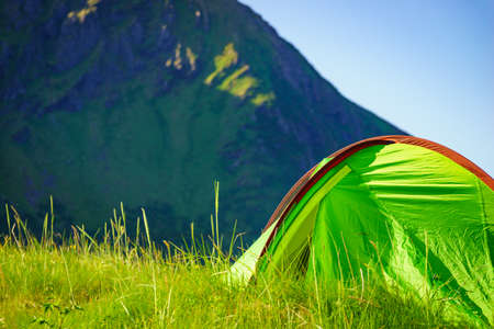 Camping. Tent on nature in summer. Lofoten archipelago Norway. Holidays and travel.