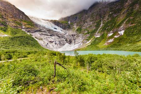 Norwegian mountains landscape. Boyabreen Glacier in Fjaerland area of Sogndal Municipality. Jostedalsbreen National Park, Norway.