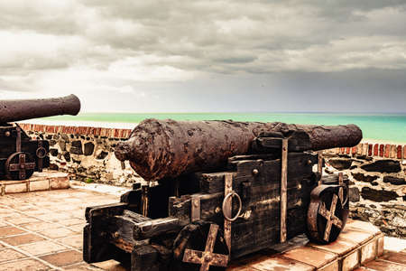 Old cannon at Sohail Castle in Fuengirola, near Malaga Spain. Tourist attraction. Intersting place to visit. Holidays on Costa del Sol. 写真素材