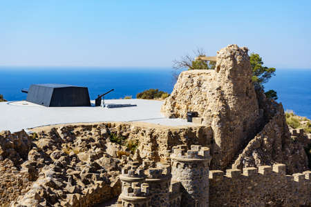 Tourist attraction. The Gun Battery of Castillitos in Spain Cartagena, stone castle fortifications. 写真素材