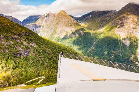 Utsikten viewpoint at Gaularfjellet. Tourist attraction. Scenic route in Norway.