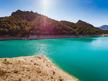 View on Guadalest water reservoir with turquoise water in Alicante province Spain 写真素材
