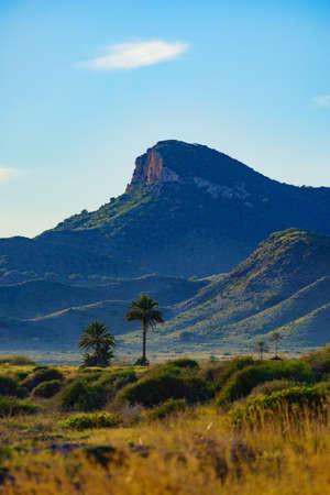 Mediterranean sea coast landscape, spanish coastline in Murcia region. Calblanque Regional Park. Tourist attraction. 写真素材
