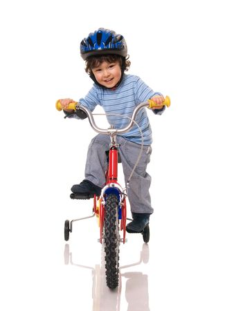 tricycle: Little boy riding bicycle
