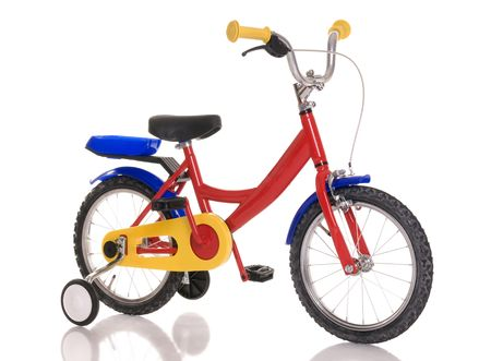Childrens bicycle on white