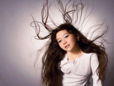 Asian girl with long hair photo