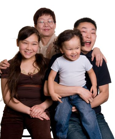 asian four persons family  photo