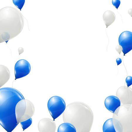 Blaue und weiße Ballons Hintergrund Standard-Bild